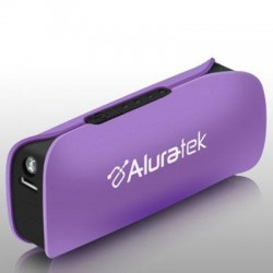 Aluratek - APBL01FV - Aluratek 2600 mAh Portable Battery Charger with LED Flashlight - Purple