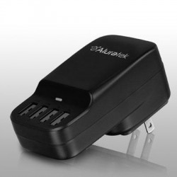 Aluratek - AUCS04F - Aluratek 4-Port USB Charging Station - 120 V AC, 230 V AC Input Voltage - 5 V DC Output Voltage - 2.40 A Output Current