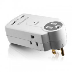 Aluratek - AUCS05F - Aluratek Mini Surge Dual USB Charging Station - 3 x AC Power, 2 x USB - 612 J - 120 V AC Input - 120 V AC, 5 V DC Output