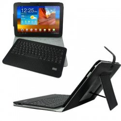 Estand - CBI-R-GALAXY-10 - E-Stand Samsung Galaxy Tab 10.1 Portfolio Case with Removable Bluetooth Keyboard - Wireless - Bluetooth
