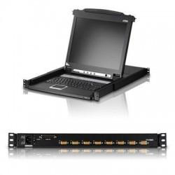 Aten Technologies - CL1008MTAA - Aten CL1008MTAA Rack Mount LCD - 8 Computer(s) - 17 LCD - SXGA - 1280 x 1024 - 8 - Daisy Chain - Keyboard - 1U High - TAA Compliant