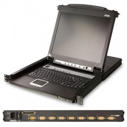 "Aten Technologies - CL5708N - Aten Rack Mount LCD - 8 Computer(s) - 19"" LCD - 1280 x 1024 - 1 x USB - Daisy Chain - Keyboard - TouchPad"
