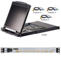"Aten Technologies - CL5808NCKIT - Aten CL5808NCKIT Dual Rail Rackmount LCD - 8 Computer(s) - 19"" - 1280 x 1024 - Daisy Chain"