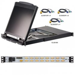 "Aten Technologies - CL5816NCKIT - Aten CL5816NCKIT Dual Rail Rackmount LCD - 8 Computer(s) - 19"" - 1280 x 1024 - Daisy Chain"