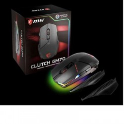 MSI - ClutchGM70 - MSI Clutch GM70 GAMING MOUSE - PixArt PMW3360 - Cable/Wireless - Radio Frequency - Black - USB 2.0 - 18000 dpi - Scroll Wheel - 10 Button(s)