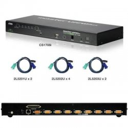 Aten Technologies - CS1708IUKIT - Aten CS1708IUKIT KVM Switch - 8 Computer(s) - 2048 x 1536 - Rack-mountable