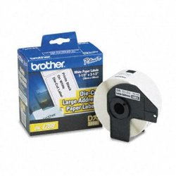 Brother International - DK1208 - Brother DK1208 - Large Address Labels - 3.50 Width x 1.50 Length - 400 / Roll - Rectangle - Direct Thermal - White - Paper - 400 / Roll