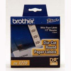 "Brother International - DK1219 - Brother Label Maker Tape Cartridges - 0.50"" Length - 1200 / Roll - Direct Thermal - White - 1 Roll"