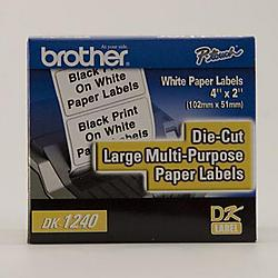 Brother International - DK1240 - Brother DK1240 - Large Multi-Purpose White Paper Labels - 600 Label(s) - 2 Width x 4 Length - Direct Thermal - White - 1 / Roll