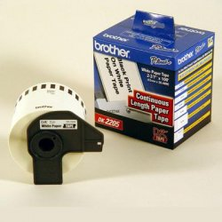 "Brother International - DK2205 - Brother DK2205 - Continuous Length White Film Paper Tape - 2.44"" Width x 100 ft Length - Direct Thermal - 1 / Roll"