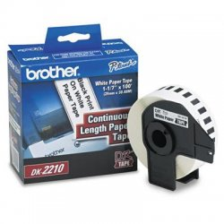 "Brother International - DK2210 - Brother Paper Tape - 1.14"" Width x 100 ft Length - Direct Thermal - White - 1 / Roll"