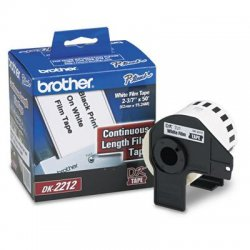 Brother International - DK2212 - Brother DK2212 - Continuous Length Film Tape - 2.44 Width x 50 ft Length - Direct Thermal - White - 1 / Roll