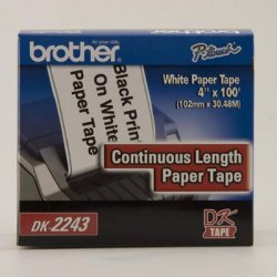 "Brother International - DK2243 - Brother P-Touch DK-2243 White Continuous Paper Roll - 4"" Width x 100 ft Length - Direct Thermal - White - Paper - 1 / Box"