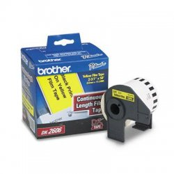 "Brother International - DK2606 - Brother Film Tape - 2.44"" Width x 50 ft Length - Direct Thermal - Yellow - 1 Roll"