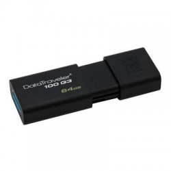Kingston - DT100G3/64GB - Kingston 64GB USB 3.0 DataTraveler 100 G3 - 64 GB - USB 3.0 - Black - 1/Pack - Retractable