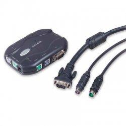 Belkin / Linksys - F1DJ102P-B - Belkin 2-Port KVM Switch Bundled With Cables - 2 x 1 - 1 x mini-DIN (PS/2) Keyboard, 1 x mini-DIN (PS/2) Mouse, 1 x HD-15 Video