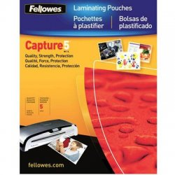"Fellowes - 52016 - Fellowes Glossy Pouches - ID Tag punched, 5 mil, 100 pack - Laminating Pouch/Sheet Size: 3.88"" Width x 2.63"" Length x 5 mil Thickness - for Document, ID Badge, ID Card - Durable, Pre-punched - Clear - 100 / Pack"