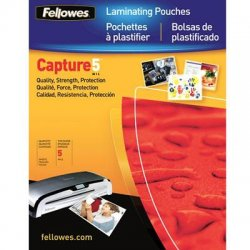 "Fellowes - 52031 - Fellowes Glossy Pouches - Business Card, 5 mil, 100 pack - Laminating Pouch/Sheet Size: 2.25"" Width x 3.75"" Length x 5 mil Thickness - Type G - Glossy - for Business Card - Durable - Clear"
