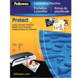 "Fellowes - 52050 - Fellowes Glossy Pouches - ID Tag punched, 7 mil, 100 pack - Laminating Pouch/Sheet Size: 2.63"" Width x 3.88"" Length x 7 mil Thickness - Type G - Glossy - for Document, ID Card - Durable, Pre-punched - Clear - 100 / Pack"