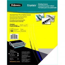 "Fellowes - 52311 - Fellowes Transparent PVC Covers - Oversize, 100 pack - 11.3"" Height x 8.8"" Width x 0"" Depth - Clear - PVC Plastic - 100 / Pack"