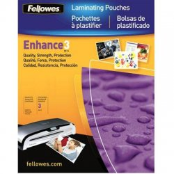 "Fellowes - 52454 - Fellowes Laminating Pouches - Letter, ImageLast, 3 mil, 100 pack - Sheet Size Supported: Letter - Laminating Pouch/Sheet Size: 9"" Width x 11.50"" Length x 3 mil Thickness - Type G - Glossy - for Document, Photo, Menu - Durable - Clear"