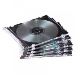Fellowes - 98318 - Fellowes Thin CD/DVD Jewel Cases - Jewel Case - Book Fold - Plastic - Clear, Black - 1 CD/DVD