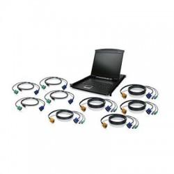 IOGear - GCL1908KITU - IOGEAR 8-Port 19 LCD KVM Drawer Kit with USB KVM Cables - 8 Computer(s) - 19 LCD - 1280 x 1024 - 8 - Keyboard - 1U High