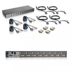 IOGear - GCS1208KIT2 - IOGEAR 8-Port Dual Link DVI KVMP Switch KIT with VGA Support - 8 Computer(s) - 1 Local User(s) - 2560 x 1600 - 12 x USB - 9 x DVI1 x VGA