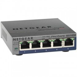 Netgear - GS105E-200NAS - Netgear ProSafe Plus Switch, 5-Port Gigabit Ethernet - 2 Layer Supported - Wall Mountable - Lifetime Limited Warranty