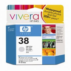 Hewlett Packard (HP) - C9414A - HP 38 Light Gray Pigment Original Ink Cartridge - Inkjet - Standard Yield - 840 Page - 1 Each
