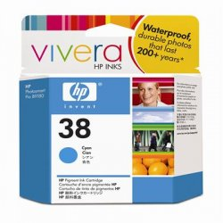 Hewlett Packard (HP) - C9415A - HP 38 Original Ink Cartridge - Single Pack - Inkjet - Standard Yield - 4500 Pages - Pigment Cyan - 1 Each