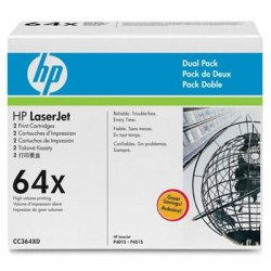 Hewlett Packard (HP) - CC364XD - HP 64X (CC364XD) 2-pack High Yield Black Original LaserJet Toner Cartridges - Laser - 24000 Page