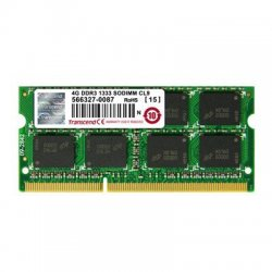 Transcend - JM1333KSN-4G - Transcend JM1333KSN-4G 4GB DDR3 SDRAM Memory Module - 4 GB - DDR3 SDRAM - 1333 MHz DDR3-1333/PC3-10667 - 204-pin - SoDIMM