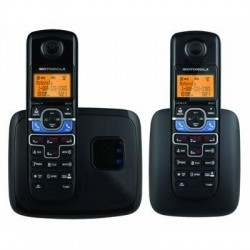 Motorola - L702BT - Motorola L702BT DECT 6.0 Black Cordless Phone System with 2 Handsets, Digital Answering System and Mobile Bluetooth Linking