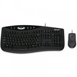 Microsoft - M7J-00001 - Microsoft Wireless Desktop 2000 Keyboard and Mouse - USB Wireless Keyboard - English (North America) - USB Wireless Mouse - BlueTrack - Tilt Wheel - Symmetrical (PC, Mac)
