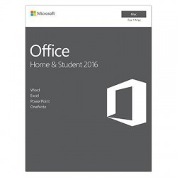 Microsoft - GZA-00850 - Microsoft Office 2016 Home & Student - 1 Mac - Non-commercial, Medialess - Office Suite Box - Intel-based Mac - English