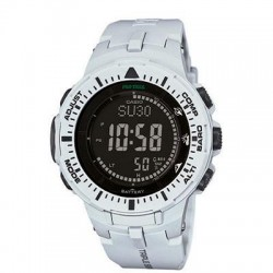 Casio - PRG300-7 - Pro Trek PRG300-7 Smart Watch - Wrist - Altimeter, Digital Compass, Barometer, Thermometer - Alarm, Stopwatch, Calendar - 5843.88 Hour - White - Resin - Water Resistant - Resin