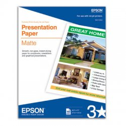 "Epson - S041062 - Epson Presentation Paper - Letter - 8.50"" x 11"" - 27 lb Basis Weight - Matte - 90 Brightness - 100 / Pack - White"