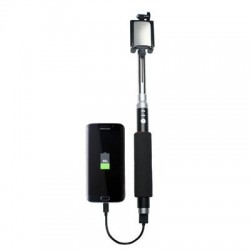 CTA Digital - SM-SBP - CTA Digital Bluetooth Selfie Stick with Built-In 5000 mAh Battery Pack Charger - 5.75 to 30.50 Height