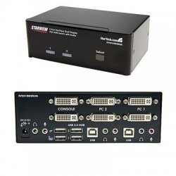 StarTech - SV231DD2DUA - StarTech.com 2 Port Dual DVI USB KVM Switch with Audio & USB 2.0 Hub - 2 x 1 - 4 x DVI-I Video