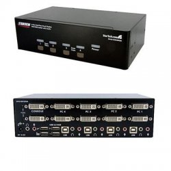 StarTech - SV431DD2DUA - StarTech.com 4 Port Dual DVI USB KVM Switch w/ Audio & USB Hub - 4 x 1 - 8 x DVI-I Video