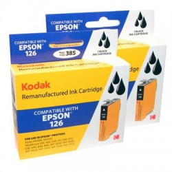 Kodak - T126120-D2-KD - KODAK Remanufactured Ink Cartridge Combo Pack Compatible With Epson T126 / 126 (T126120-D2) High-Yield 2 Black Cartridges - Inkjet - High Yield - 2 Pack