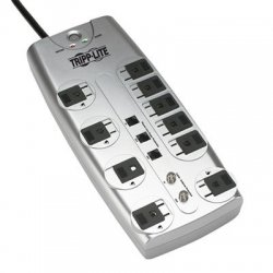 Tripp Lite - TLP1008TELTV - Tripp Lite Surge Protector 120V 10 Outlet RJ11 Coax 8' Cord 3345 Joule - Receptacles: 8 x NEMA 5-15R - 3345J