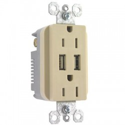 Pass & Seymour - TM826USBICC6 - Pass & Seymour USB Charger with Duplex Decorator Tamper-Resistant Receptacle, Ivory - 2, 2 x NEMA 5-15R, USB - 15 A