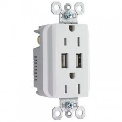 Pass & Seymour - TM826USB-WCC6 - Pass & Seymour USB Charger with Duplex Decorator Tamper-Resistant Receptacle, White - 2, 2 x NEMA 5-15R, USB - 15 A