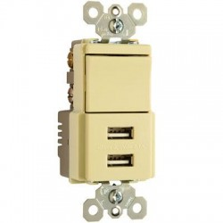 Pass & Seymour - TM83USBICC6 - Pass & Seymour USB Charger with Single Pole/3-Way Switch, Ivory - 2 x USB - 15 A