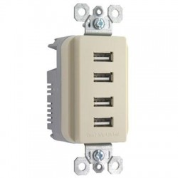 Pass & Seymour - TM8USB4ICC6 - Pass & Seymour Quad USB Charger, Ivory - 4 x USB - 4.20 A