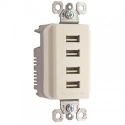 Pass & Seymour - TM8USB4LACC6 - Pass & Seymour Quad USB Charger, Light Almond - 4 x USB - 4.20 A