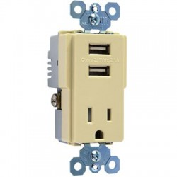 Pass & Seymour - TM8USBICC6 - Pass & Seymour USB Charger with TR Recep, Ivory - 2 x USB - 15 A