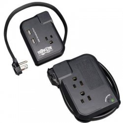 Tripp Lite - TRAVELER3USB - Tripp Lite Notebook Surge Protector USB Charger 3 Outlet 1050 Joule - 3 x NEMA 5-15R, 2 x USB - 1.80 kVA - 1050 J - 125 V AC Input - 125 V AC Output